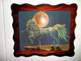Vintage unicorn under the moon picture epoxy on wood art wall decor - $27.81