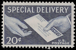 1954 Hands and Letter US Special Delivery Postage Stamp Catalog Number E20 MNH