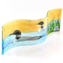 Fused Art Glass Sunset Black & White Loon Duck Wavy Decor Piece Handmade Ecuador image 3