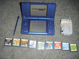 Nintendo DSi METALLIC BLUE Handheld System Console with Lot of 9 Games ds - $54.21