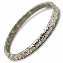SOLID 18K WHITE GOLD BRACELET, RIGID, BANGLE, FINELY NEST WORKED WITH FLOWERS image 2