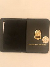 NY Sergeants Thin Blue Line  Mini Shield  And Leather Wallet ID (BROTHER) - $21.78