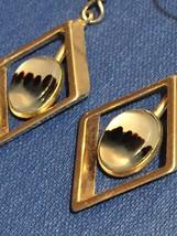 Vintage 70s Gold Diamond-shape Dangle Montana Agate Earrings image 2