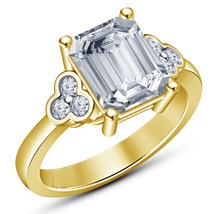 Rectangular Shape Cubic Zirconia Yellow Gold Finish 925 Silver Engagemen... - $68.99
