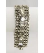 80s VINTAGE Jewelry SIX ROW ICE RHINESTONE BRACELET PEAR BAGUETTE  & CHA... - $41.25