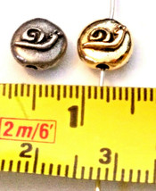 SNAIL ROUND DISC FINE PEWTER BEAD - 7x7x4mm; Hole 1.5mm image 2