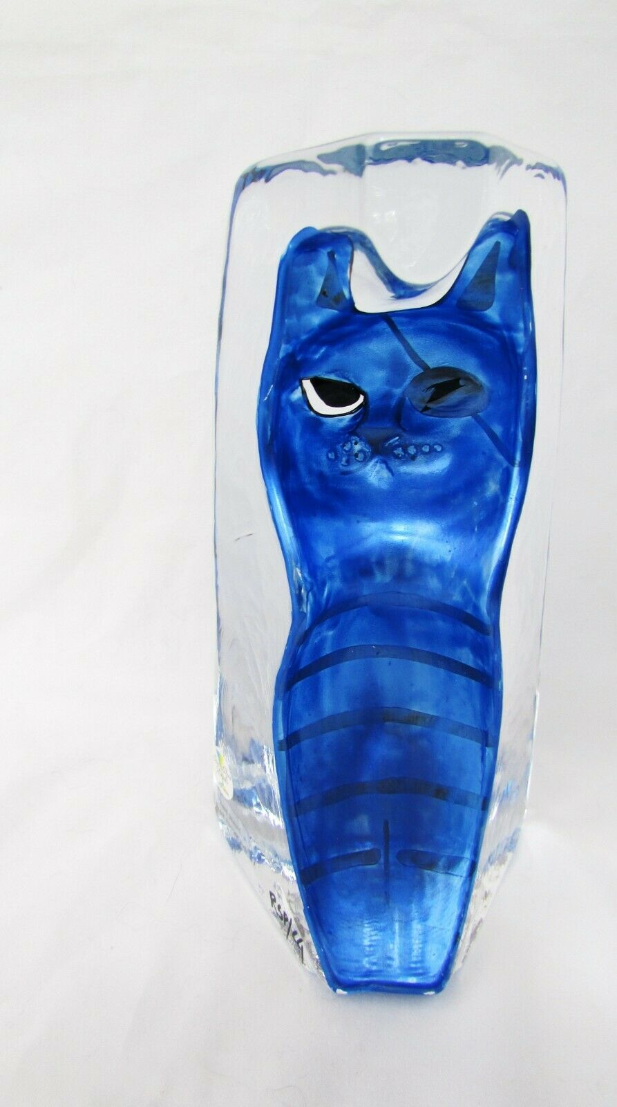 Sea Glas Bruk Kosta Sweden Glass Hand Painted Tiger Striped Cat BLUE Signed EUC - $59.39