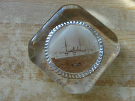 NEWARK,PROTECTED CRUISER,U.S.N.OLD SHIP GLASS ADVERTISING RARE PAPERWEIGHT - $35.48