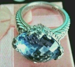 JUDITH RIPKA BLUE CRYSTAL DMQ STERLING SILVER COCKTAIL RING SIZE 9 GIFT ... - $148.45