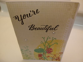 Green,yellow,red,spring handmade blank greeting card,You're beautiful fl... - $5.95