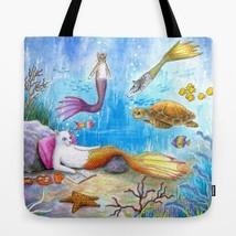 Tote bag All over print Cat Mermaid 31 turtle fish fantasy art painting ... - $26.99+