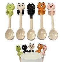 1 Piece Cute Cartoon Animal Ceramic Hanging Coffee Scoop Milk Tea Soup S... - $7.99