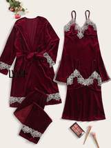 4pack Contrast Lace Velvet Cami Night Dress With PJ Set & Belted Robe - $95.99+