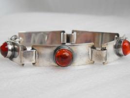 German 835 Silver Georg Kramer Baltic Amber Damgarten Modernist Style Bracelet - $212.84