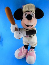 "Minnie Mouse 16"" Plush Old Timer Baseball Player Pink Pinstripes Wool RARE - $13.16"
