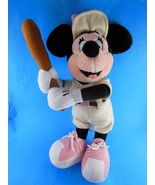 """Minnie Mouse 16"""" Plush Old Timer Baseball Player Pink Pinstripes Wool RARE - $13.16"""