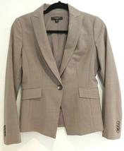 Ann Taylor Gray One Button Blazer Jacket Virgin Wool Lightweight Petite ... - $26.11