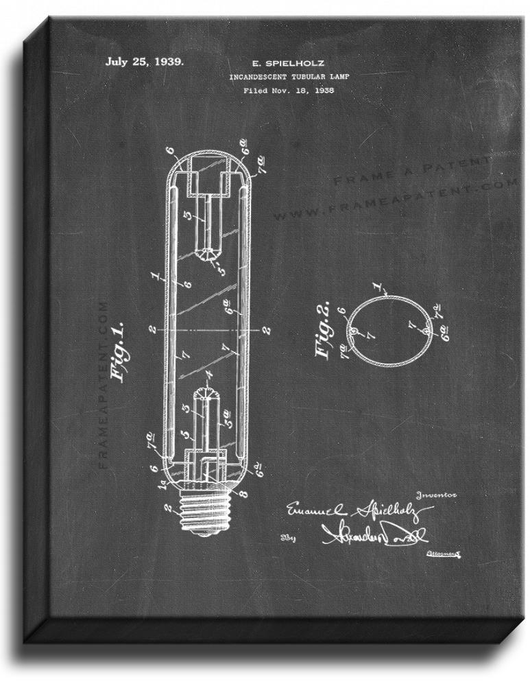 Primary image for Incandescent Tubular Lamp Patent Print Chalkboard on Canvas