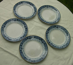 "5 x Antique Ford & Sons ""Weir"" pattern Flow Blue Medium Side Plate 7.5"" ... - $6.50"