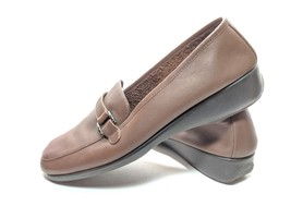 """Areosoles """"Sweety Pie"""" Women's Size 8m Brown Leather Wedge Loafers (tu18) - $16.19"""