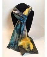 Hand Painted Silk Scarf Denim Blue Yellow Charcoal White Womens Rectangle New - $56.00