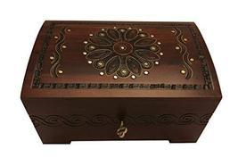 Polish Handmade Wood Floral Jewelry Chest with Lock and Key Keepsake Box - $49.49