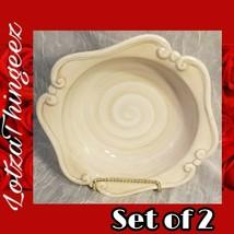 "Duomo by Gibson Elite Designs Beige/White Scroll 8"" Rim Soup Bowls Set of 2 - $15.98"