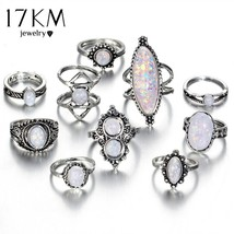17KM® 10 pcs/set Vintage Big Natural Opal Stone Knuckle Shield Ring Set ... - $6.07