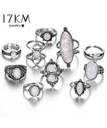 17KM® 10 pcs/set Vintage Big Natural Opal Stone Knuckle Shield Ring Set ... - $5.46