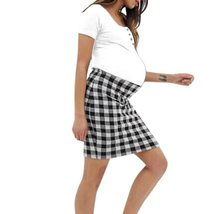 Maternity Dress Checkered Patchwork O Neck Short Sleeve Dress image 6