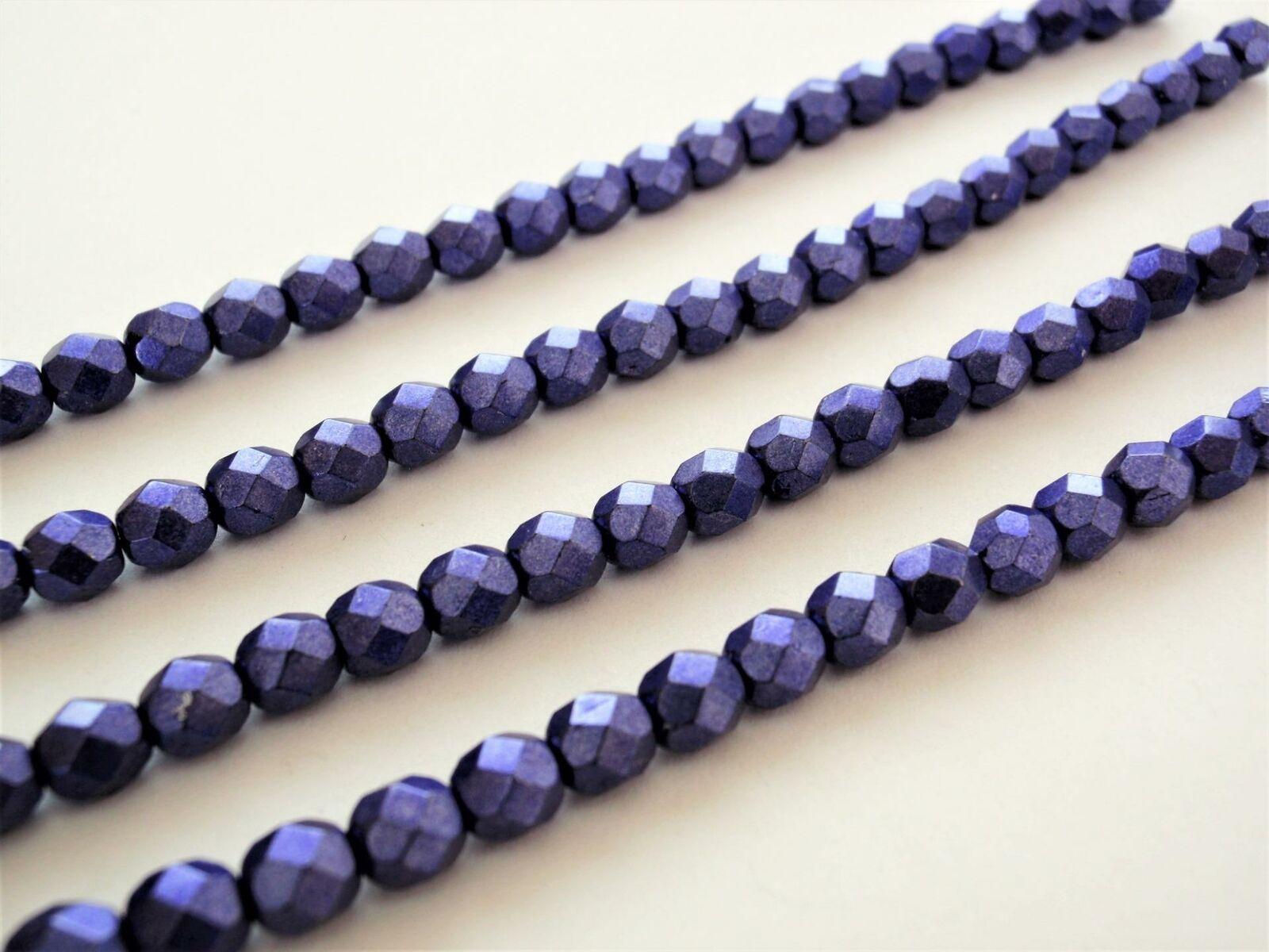 25 6 mm Czech Glass Firepolish Beads: Saturated Metallic - Ultra Violet - $2.32