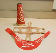 Coca-Cola 1950s Cardboard Drink Cup Carrier Holder, Megaphone & Visor - $29.65