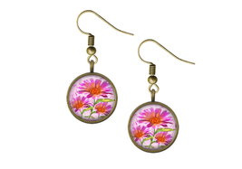Pink Watercolor Flowers Wire Back Earrings  - $14.95