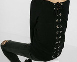 Express Lace Up Tie Back Sweater Black Color Size XSmall XS