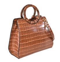 Women's Embossed Faux Crocodile Pattern Handbag Vegan Textured Leather Purse image 7