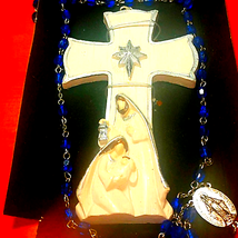 Beautiful vintage cross and blue beaded rosary - $33.66