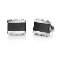 Stainless steel Rectangular Black Onyx Inlay Cufflinks - $55.99
