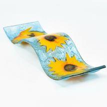 Fused Art Glass Sunflowers Flowers Wavy Decor Sun Catcher Handmade in Ecuador image 7