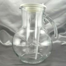 MT Plast Italian Glass Pitcher w/ Ice Chamber & Stirrer 64 Oz White Plas... - $29.95