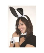 Sexy Deluxe Play Boy Naughty Bunny 5 Pc Costume Set Black White Ears Cuf... - $14.10