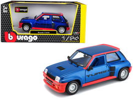 Renault 5 Turbo Metallic Blue with Red Accents 1/24 Diecast Model Car by Bburago - $33.64