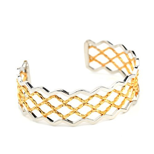 Contemporary Gold & Silver Tone ( Two Tone) Bangle Bracelet Cuff-United Elegance