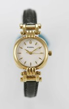 Fossil Womens Watch Stainless Steel Gold Water Resist Black Leather Beige Quartz - £26.92 GBP