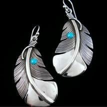 Ethnic 925 Sterling Silver Navajo Feather Turquoise Earrings [EAR-203] - €14,17 EUR