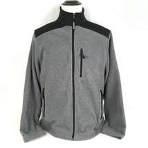 Old Navy Mens Large Fleece Jacket Gray  Full-Zip Soft Warm Pockets & Elb... - $16.81