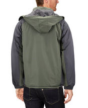 Men's Quilted Lined Removable Hood Two Toned Zipper Puffer Lightweight Jacket image 10