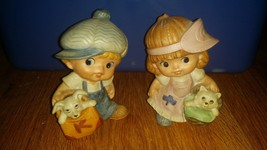 homco boy girl figures with hats #1439 bags with pets  - $23.38