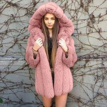 Women Luxurious Hooded Fur Coat  Fuzzy Jacket Warm Thick Faux Fur image 3
