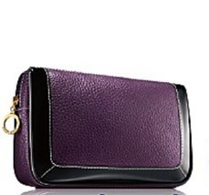 Estee Lauder Eggplant Faux Pebbled Leather Makeup Cosmetic Bag - $10.88