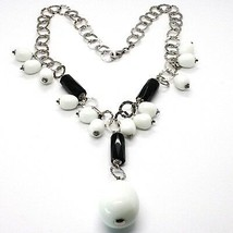 Silver 925 Necklace, Onyx Black, Agate White Drop, Waterfall Pendant image 2